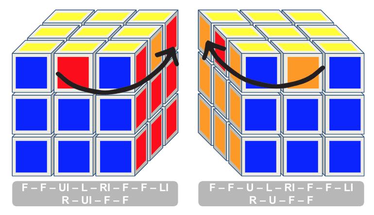 3x3 kubus stap 2 randblokjes